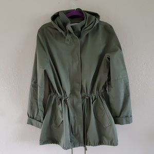 Country Romantic olive green hooded army jacket L